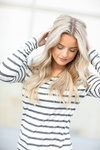 Goes With Everything Side Scrunch Tunic in Striped Charcoal
