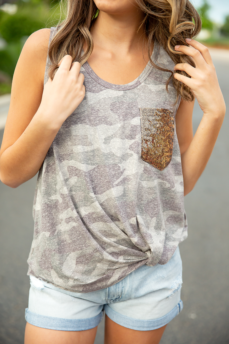 Forget Me Not Camo Twist Tank with Sequin Pocket