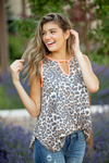 Busy Life Animal Print and Neon Coral Trimmed Tank