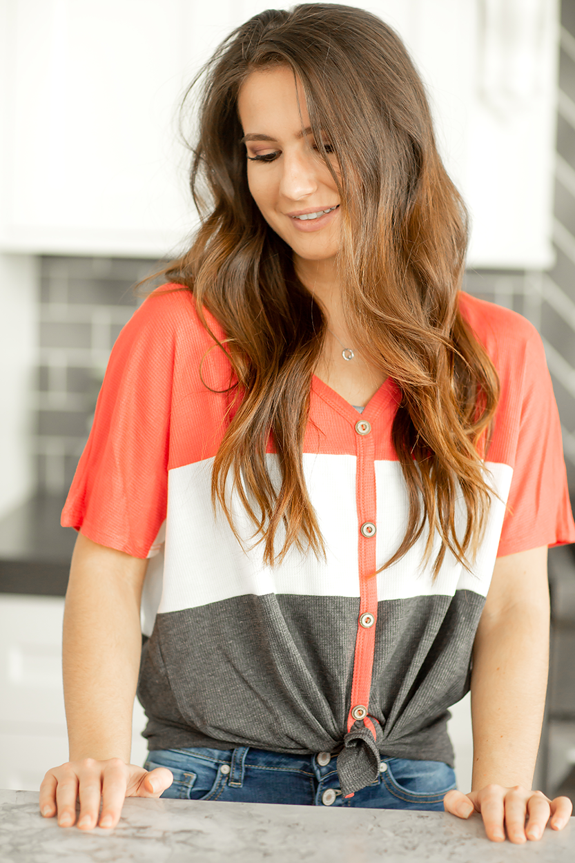 First In Line Waffle Top In Coral, White and Charcoal