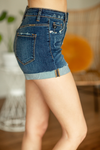 KanCan Time For Fun Five Distressed Copper Button Shorts