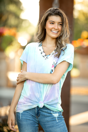Echo Beach Mint and Lavender Tie Dye Top