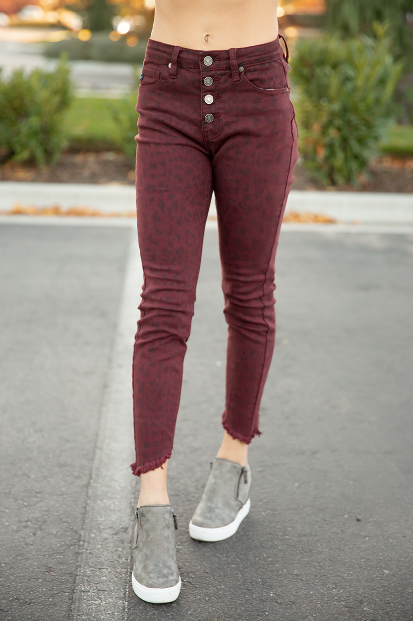 KanCan Go My Way High Rise Leopard Cropped Skinny Jeans In Burgundy