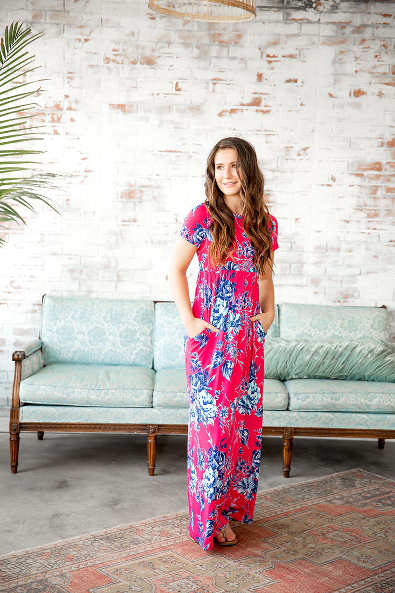 Yearning For You Pink Floral Maxi Dress