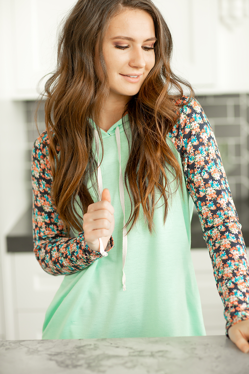 Reflections Floral Hoodie in Mint