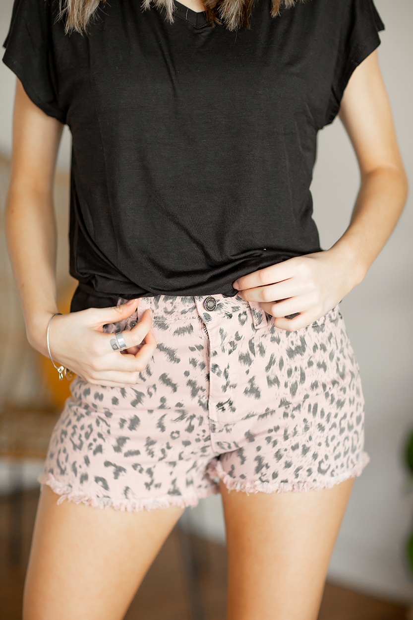 KanCan Pink Animal Print Shorts