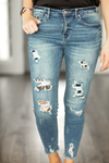 KanCan Patched Up Animal Print Denim
