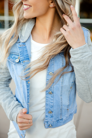 Doesn't Get Better Than This Light Wash Denim Jacket with Gray Sleeves and Hood