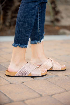 All That Glitters Sandals in Rose Gold