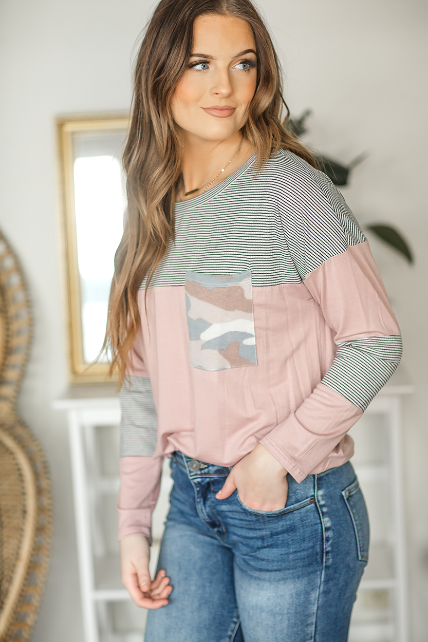 Treat Her Right Striped Top in Mauve