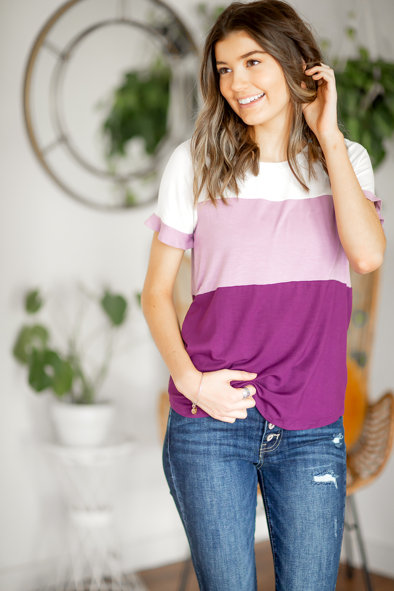 Spring Dreams Color Block Top in Lavender and Plum