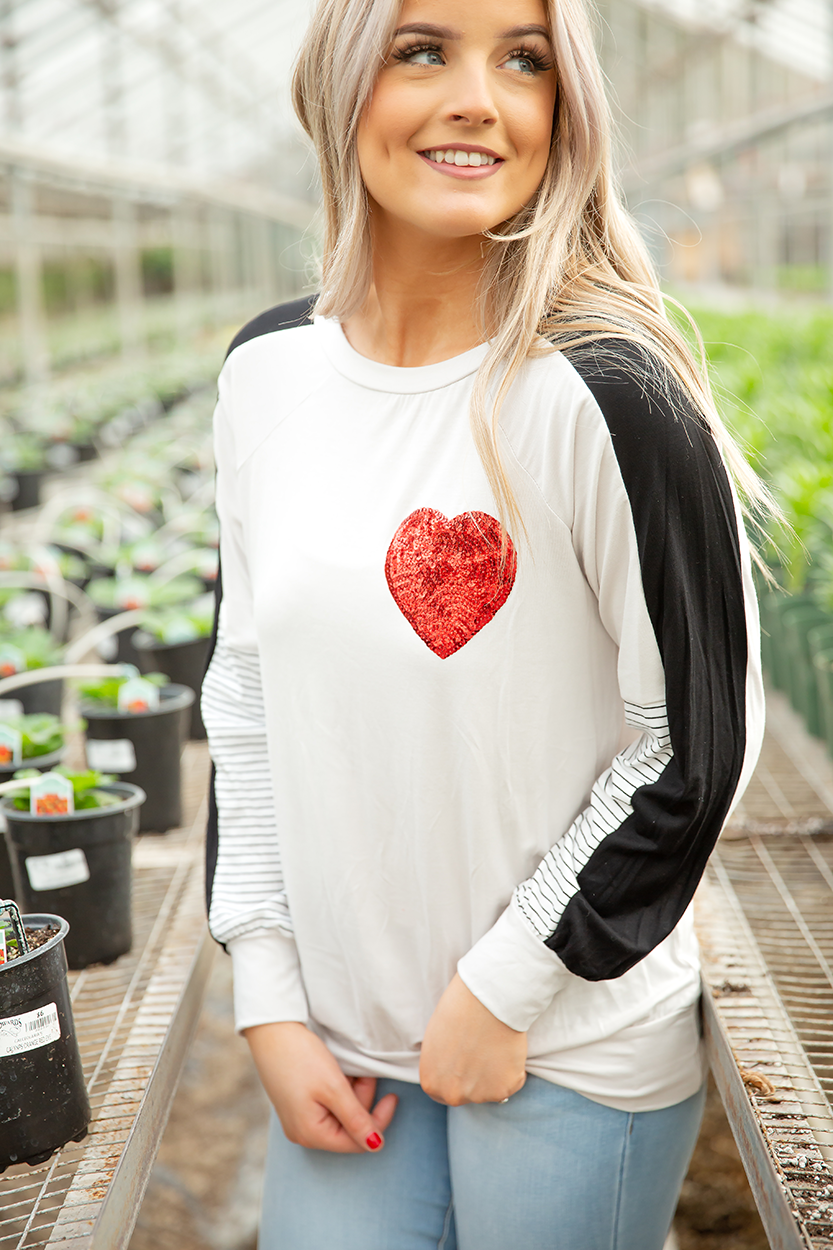 Long Goodbye Long Sleeve Top with Heart Pocket