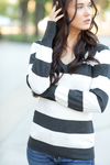 Just Want You Striped Knit Top in Charcoal and White