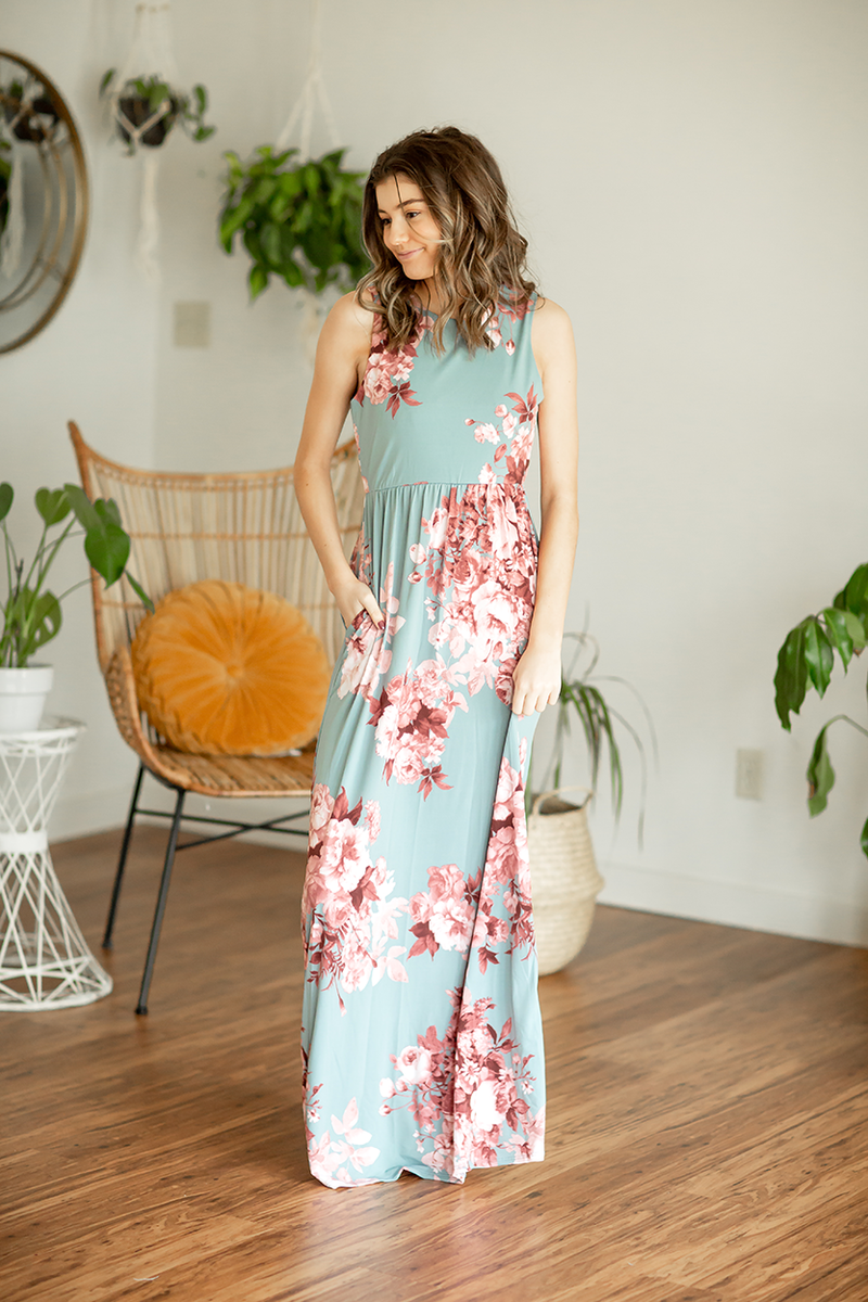 Favorite Things Deep Aqua Floral Maxi Dress