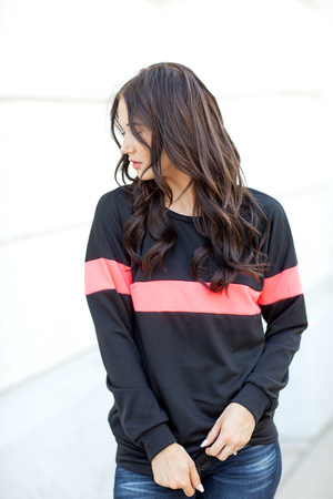 Enjoy The Journey Pullover in Black and Neon Pink