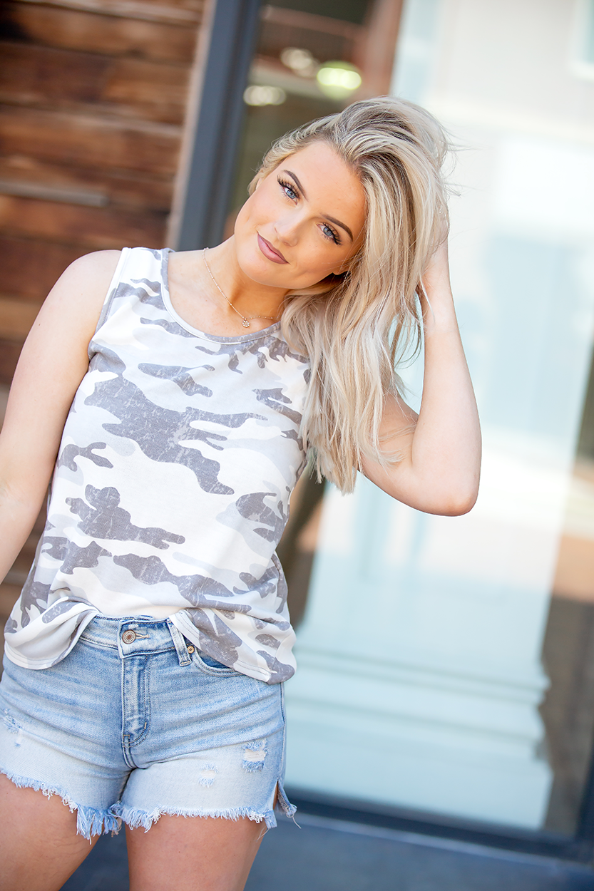 Always A Great Idea Grey Camo Tank