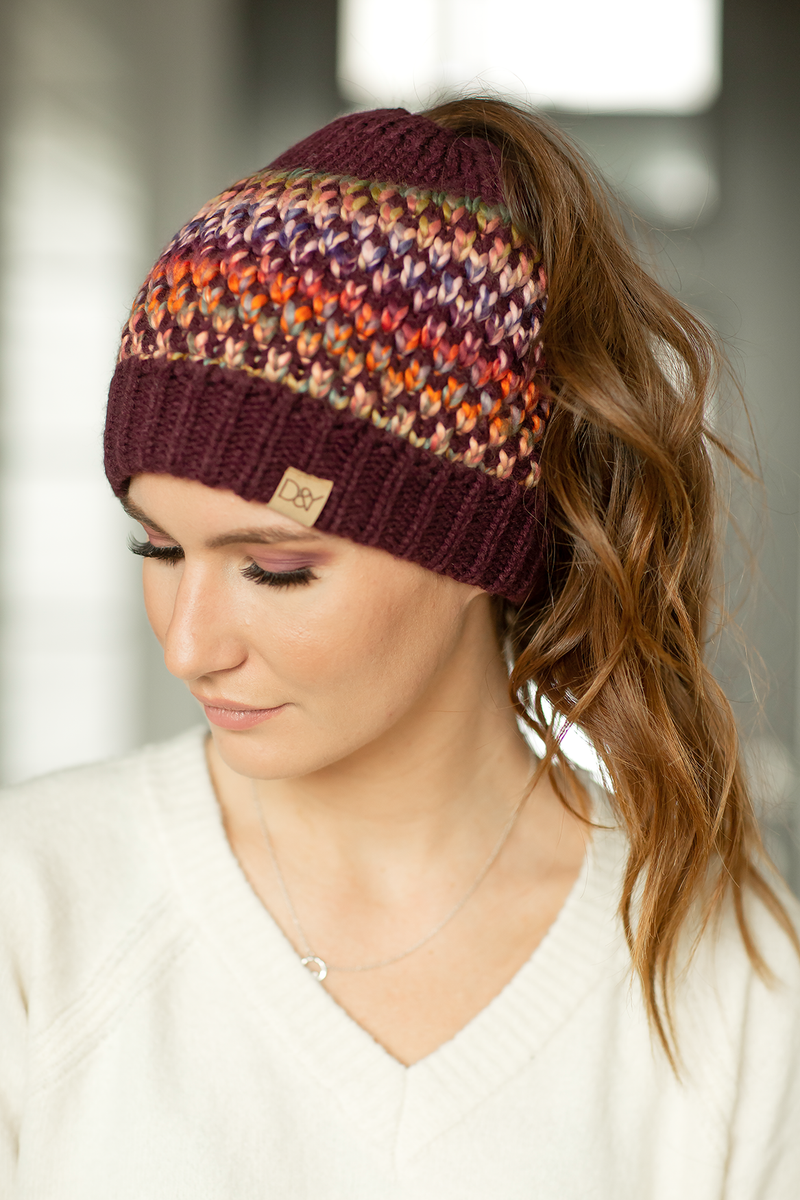 Multi Colored Beanie in Plum