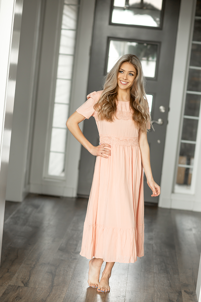 Secret Love Midi Dress in Peach