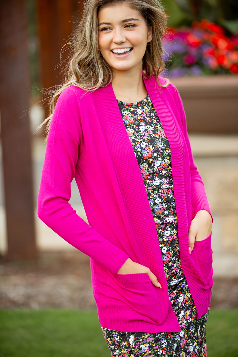Everyday Cardigan in Hot Pink