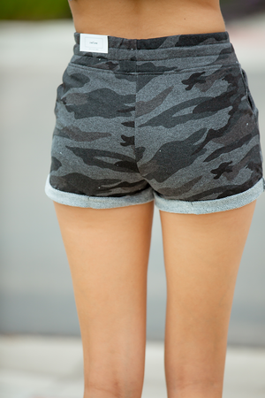 Having a Great Time Charcoal Camo Shorts
