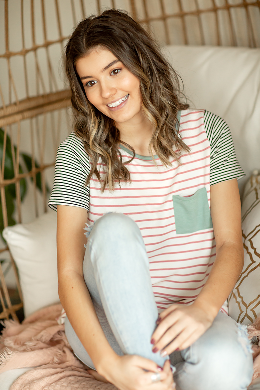 Incredibly Sweet Striped Top in Mauve, Mint, Black and White