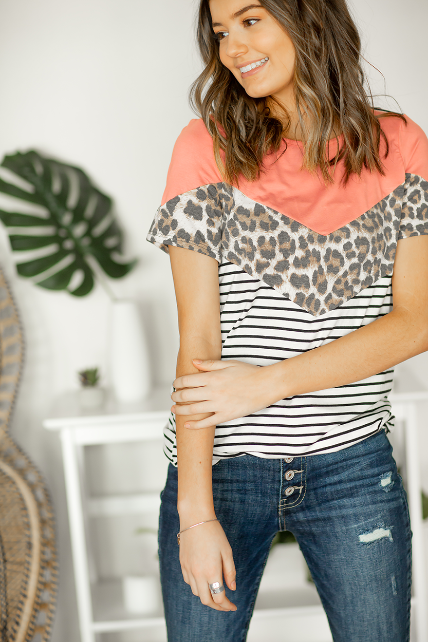 Sending You Love Color Block Top with Animal Print in Coral