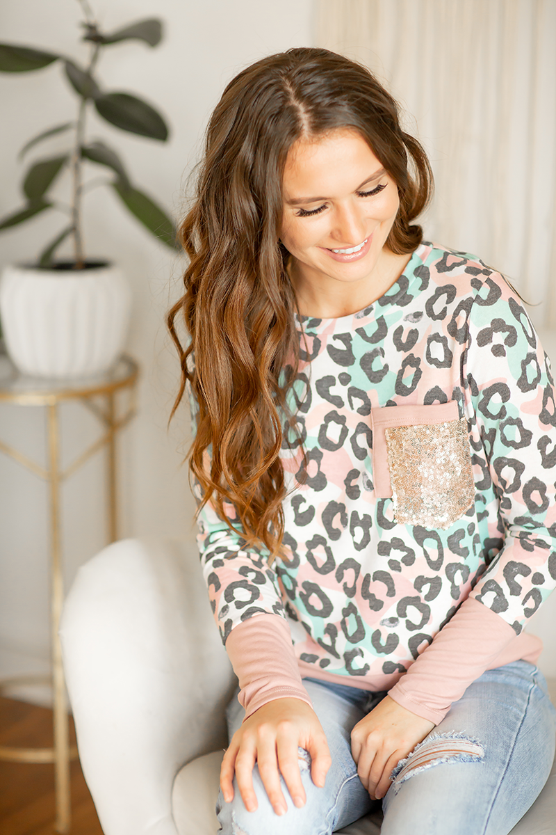 Sparkle In Your Eye Top in Animal Print and Blush