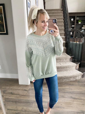Come Away with Me Top with Lace in Sage (SALE)