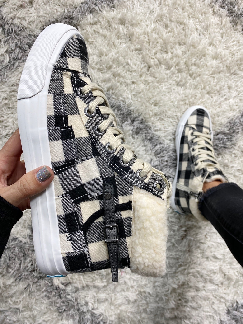 Blowfish Rumors of Glory Sneaker in Black and Ivory Plaid