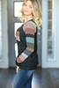 Savor The Moment Multi Colored Sleeve Top in Black