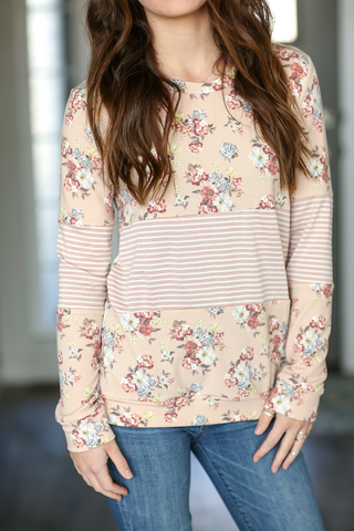 Turning Heads Striped and Floral Top in Blush