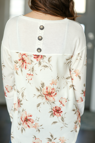 Need Nothing More Top in White Floral