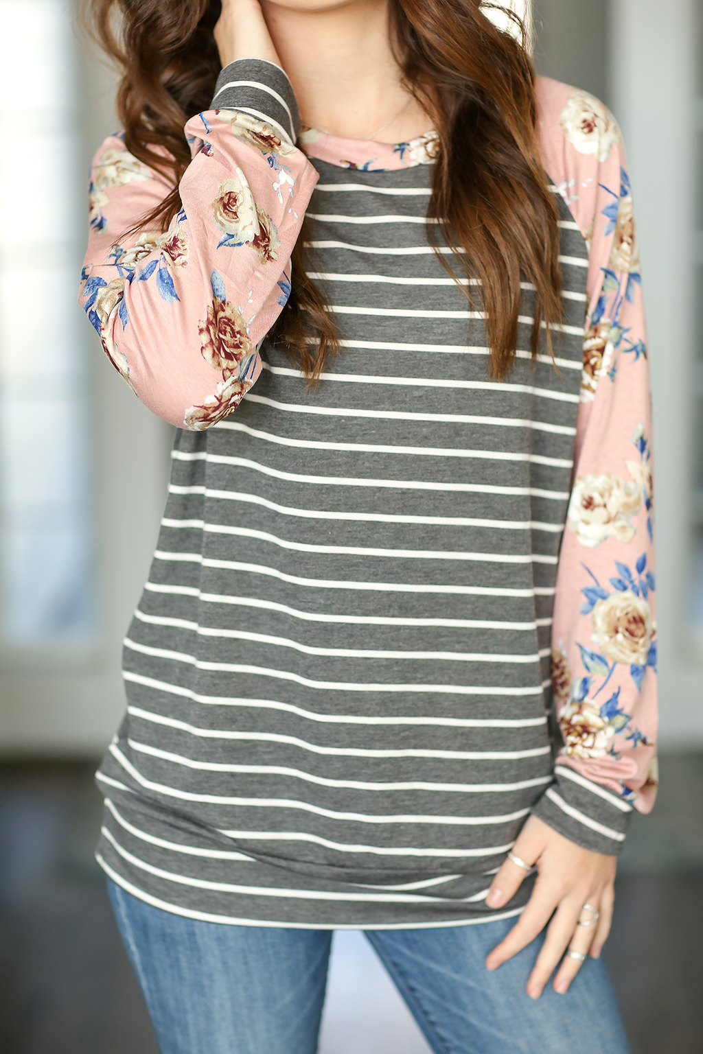 Take Me Back There Striped Pullover in Pink Floral