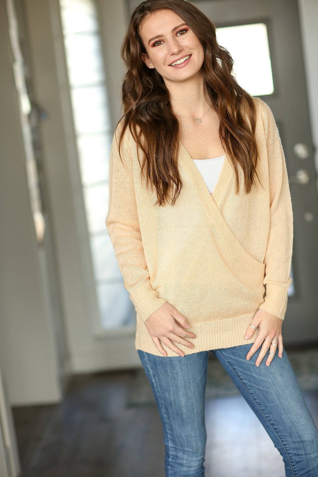 Snuggle Up Knit Sweater in Light Peach