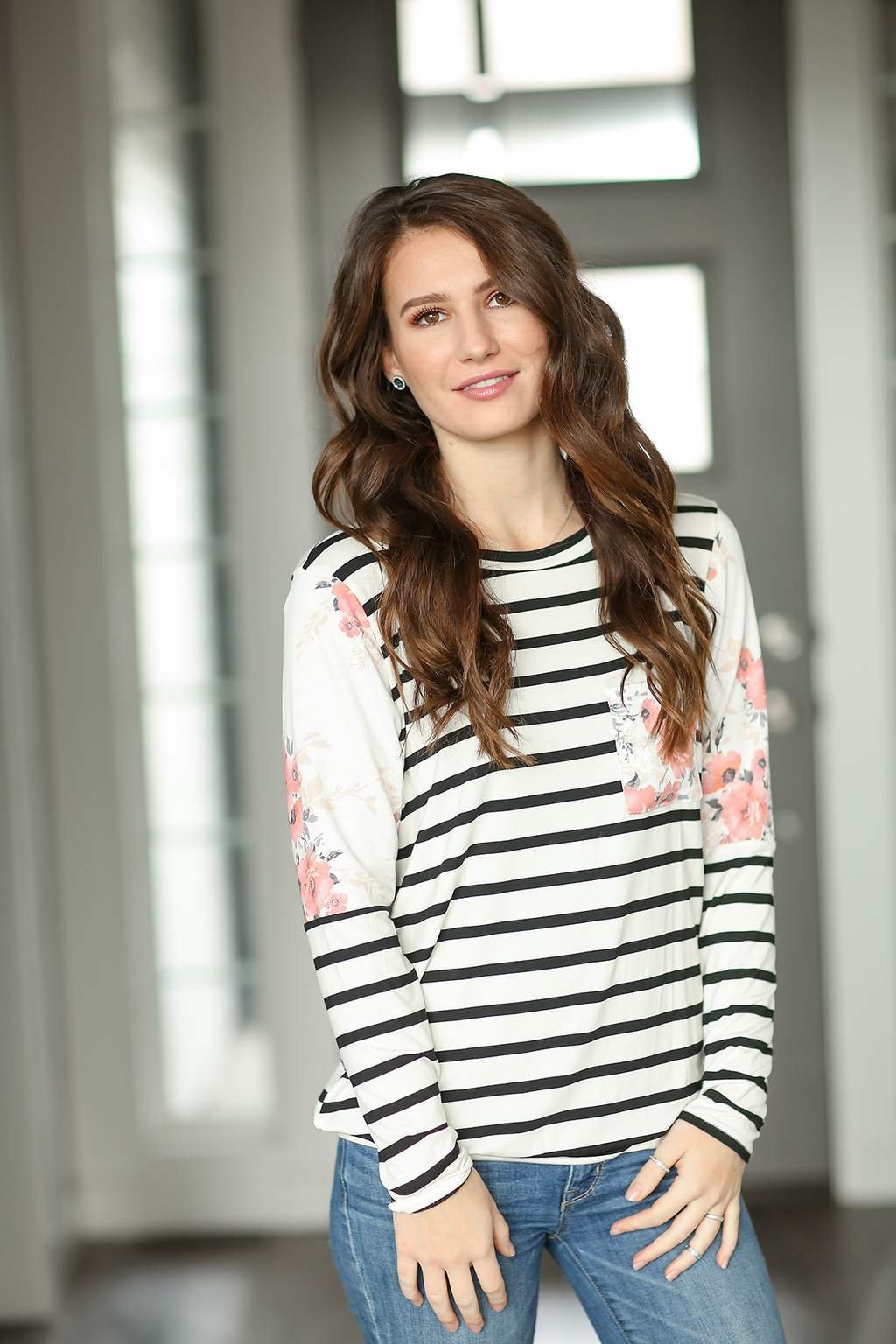 Just About Right Striped Top With Floral Details