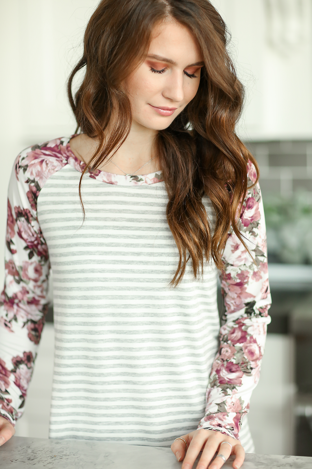 Listen Up Striped Long Sleeve Top with Floral Sleeves