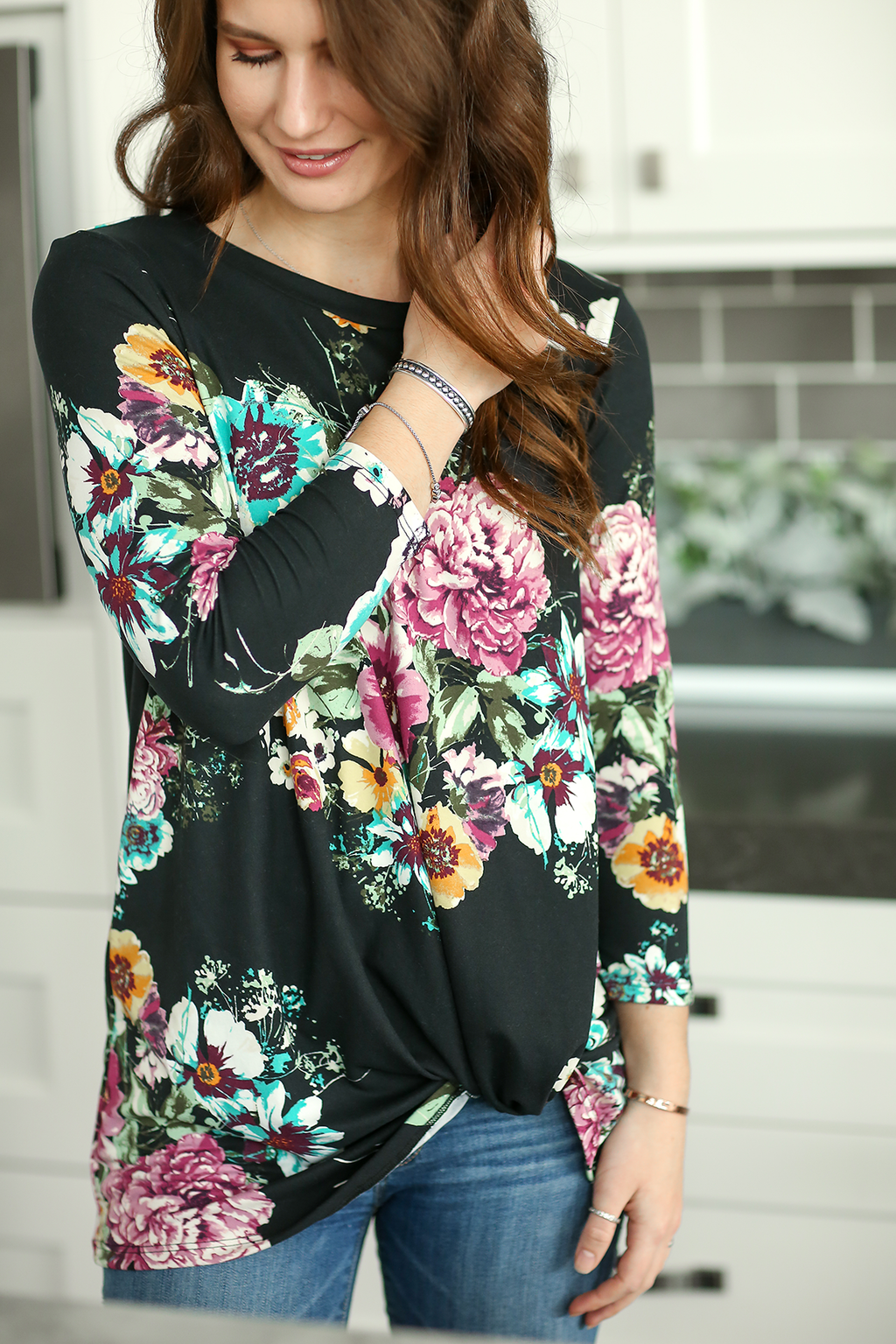 Always a Treat 3/4 Sleeve Floral Twist Tee in Black