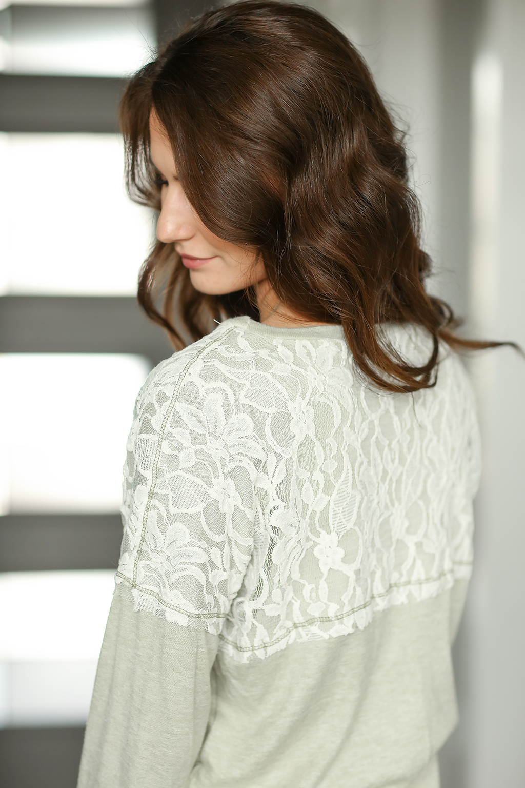 All Smiles Top in Sage with Lace Detail
