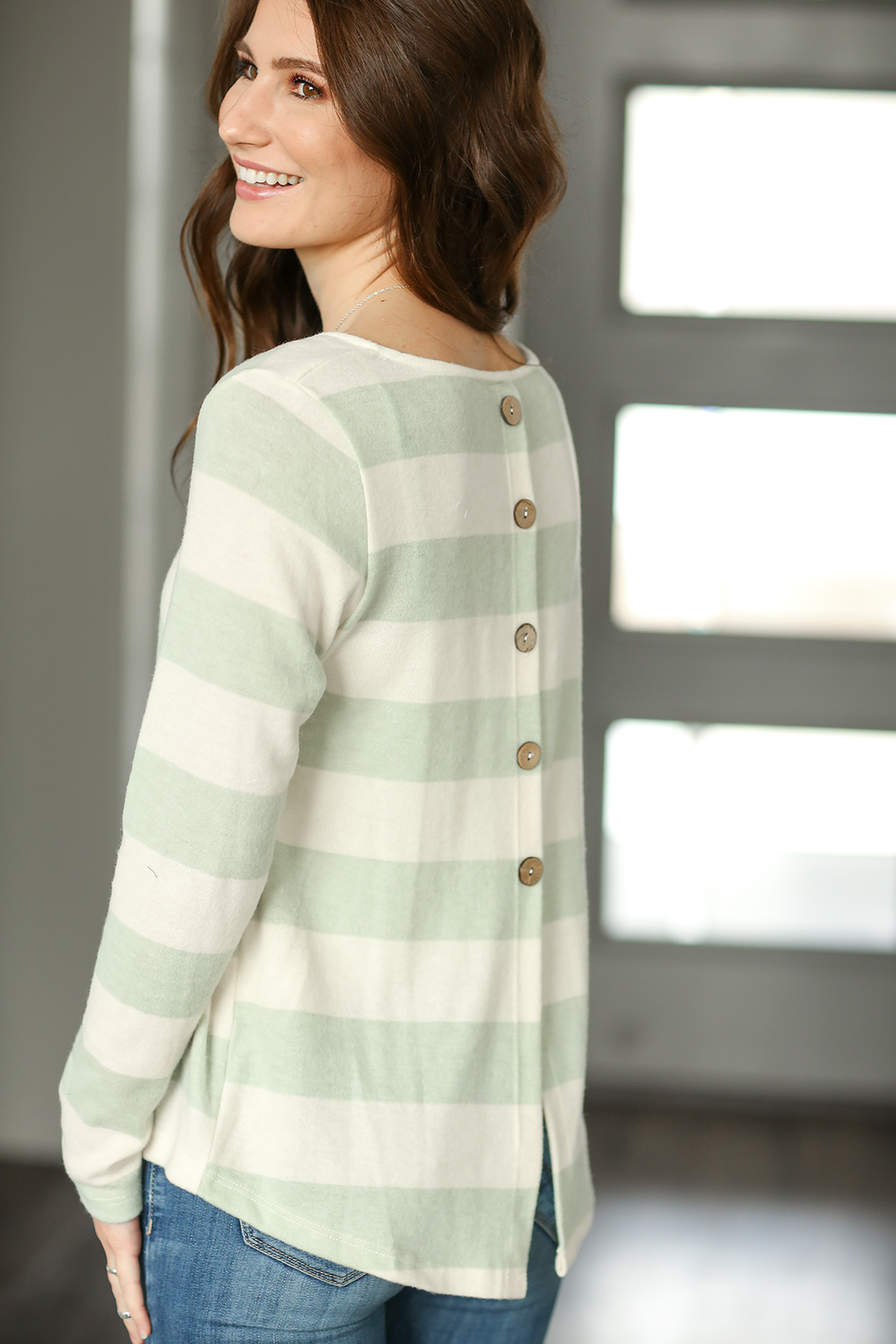 You Just Know Striped Top in Sage and Ivory