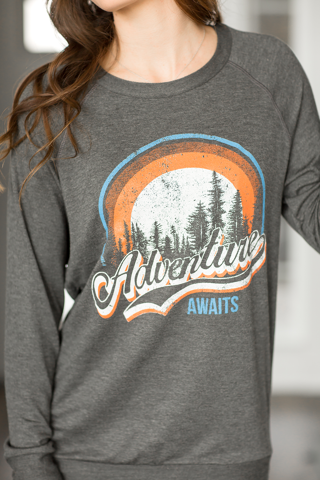 Adventure Awaits Pullover in Charcoal