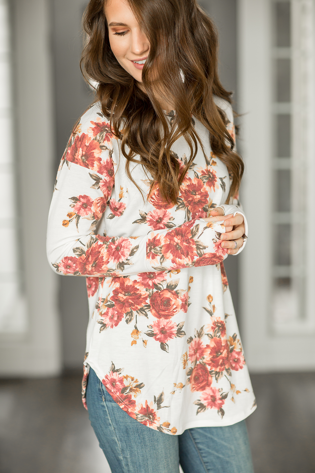 Simple Yet Fabulous Long Sleeve Floral Top in Ivory