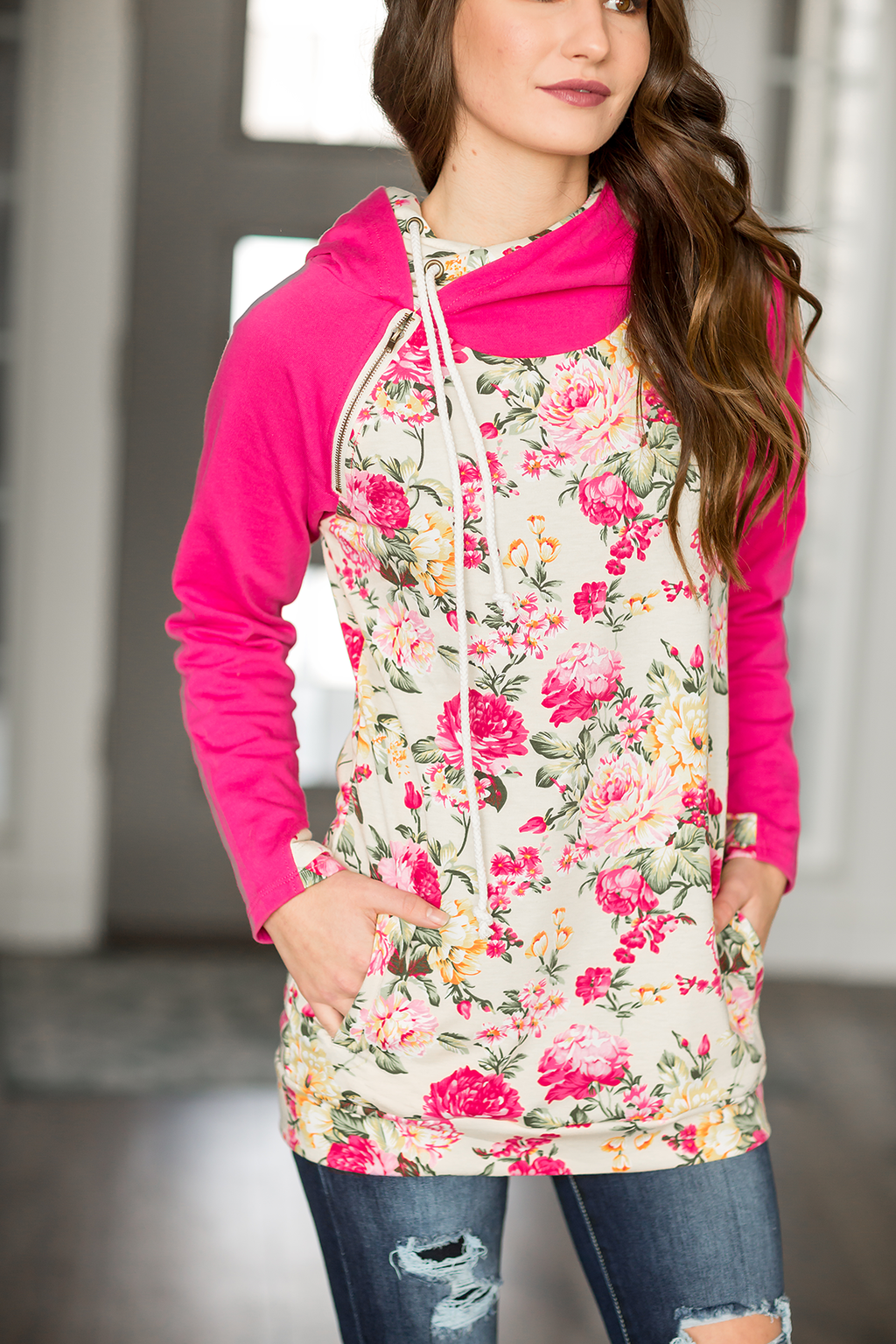 True Beauty Pink Floral Double Hooded Sweatshirt