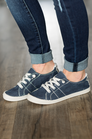 Canvas Sneakers in Navy