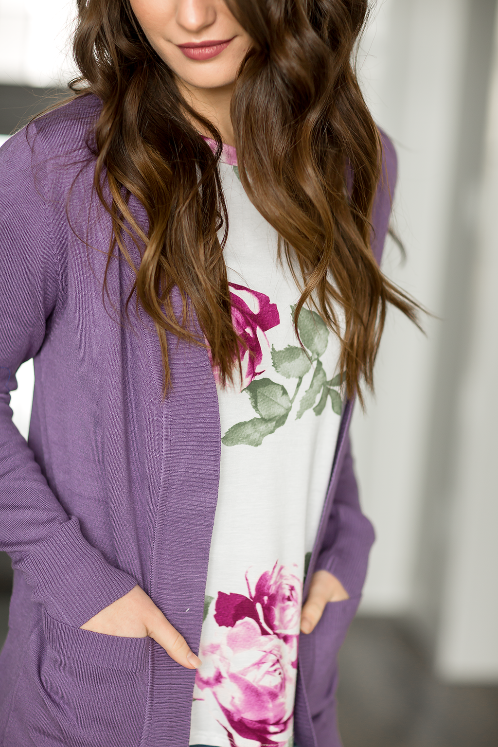 Back To Basics Cardigan in Lilac