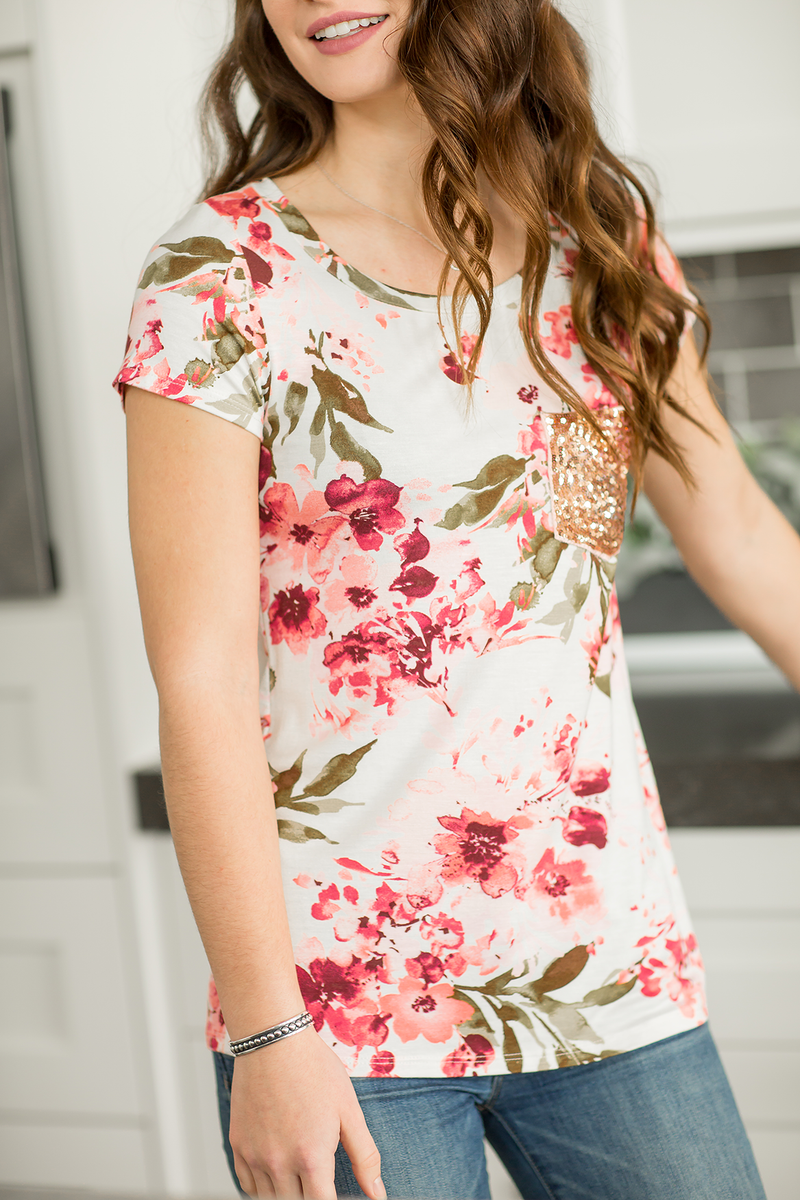 Happiness Guaranteed Pink Floral Top With Sequin Pocket