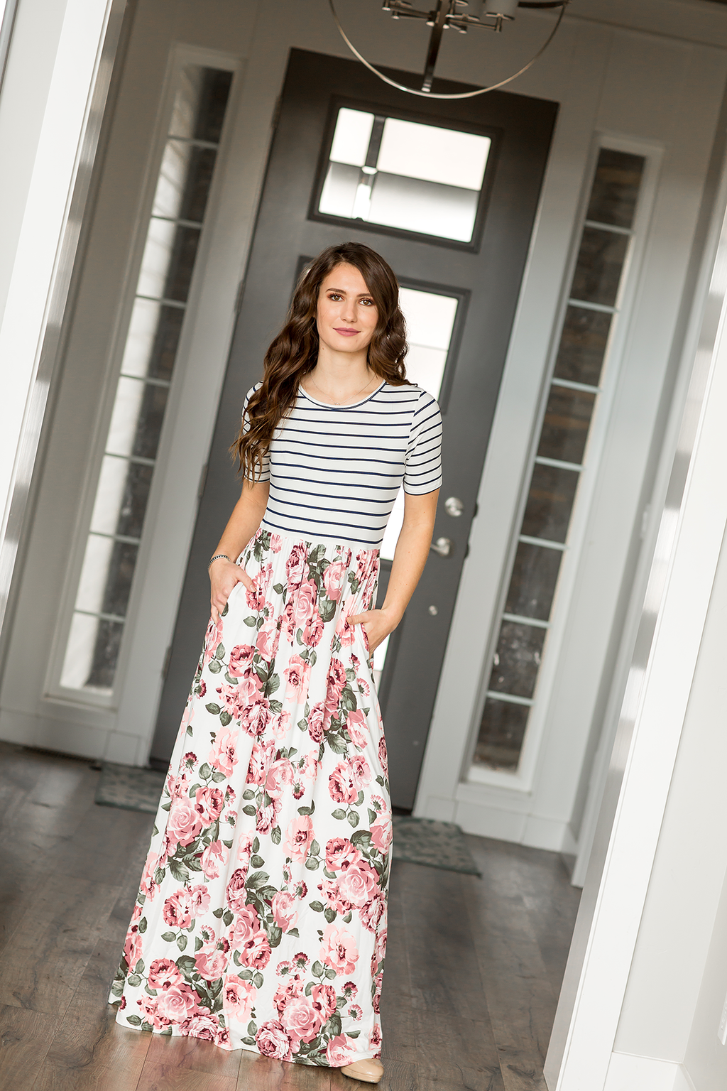 Feeling Fabulous Striped and Floral Maxi Dress