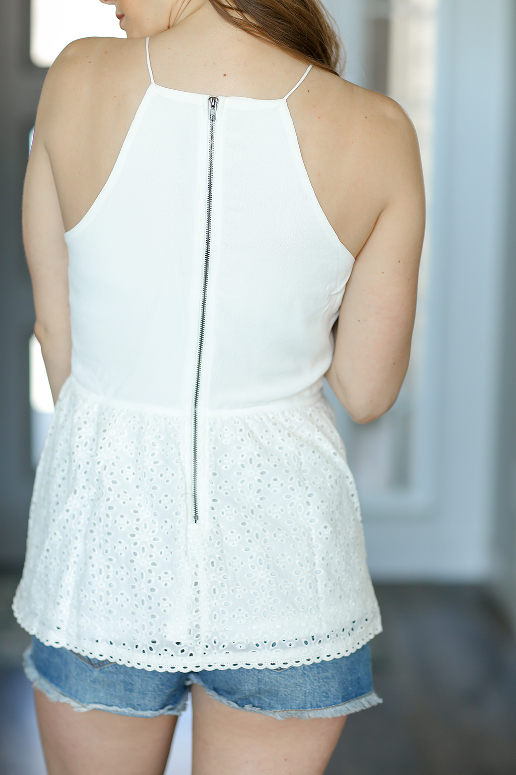 Totally Works Tank in White with Crochet Detail (SALE)