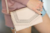 Savor The Moment Design Cut Out Cross Body Bag in Nude