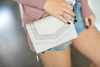 Savor The Moment Design Cut Out Cross Body Bag in Gray