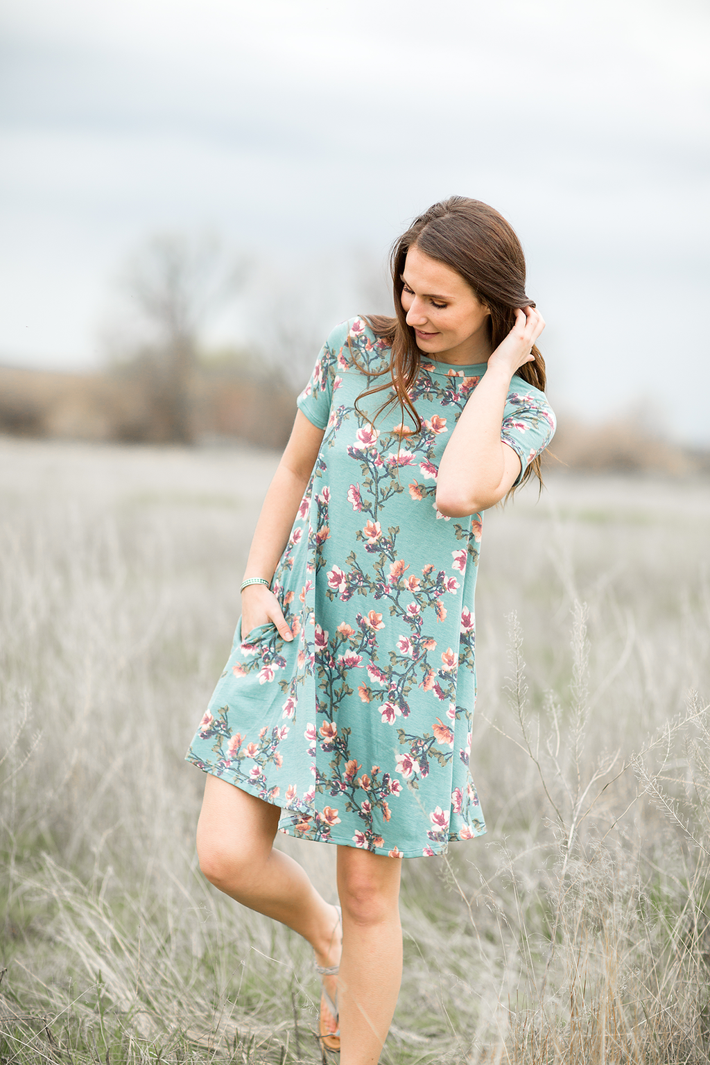 Flair of Floral Dress in Light Teal
